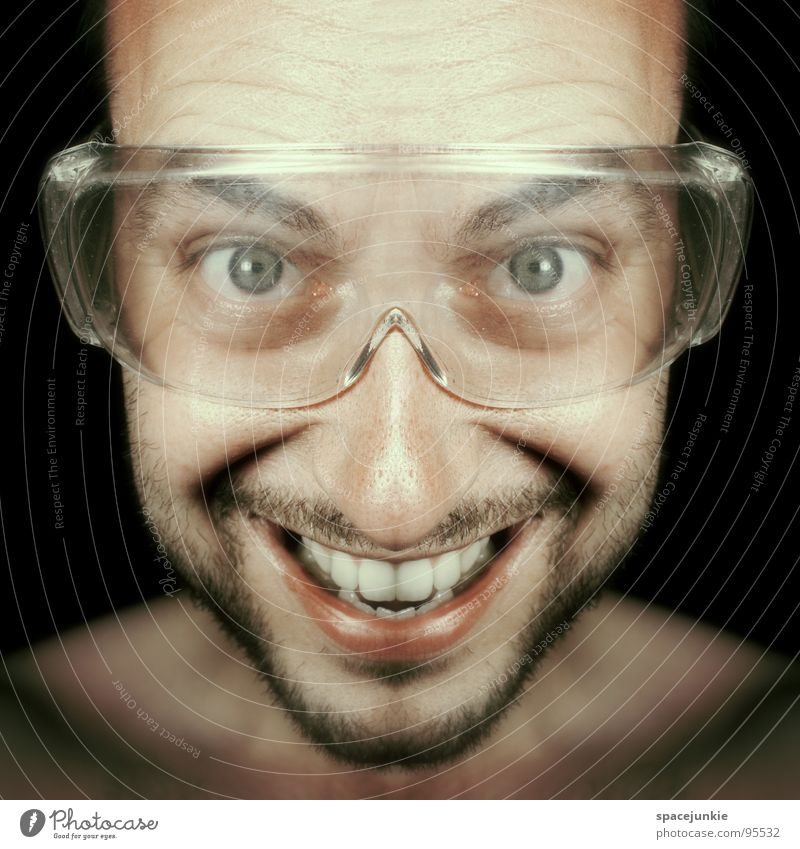 FREAK Man Portrait photograph Eyeglasses Saftey goggles Crazy Whimsical Funny Joy Symetric Grinning Laughter