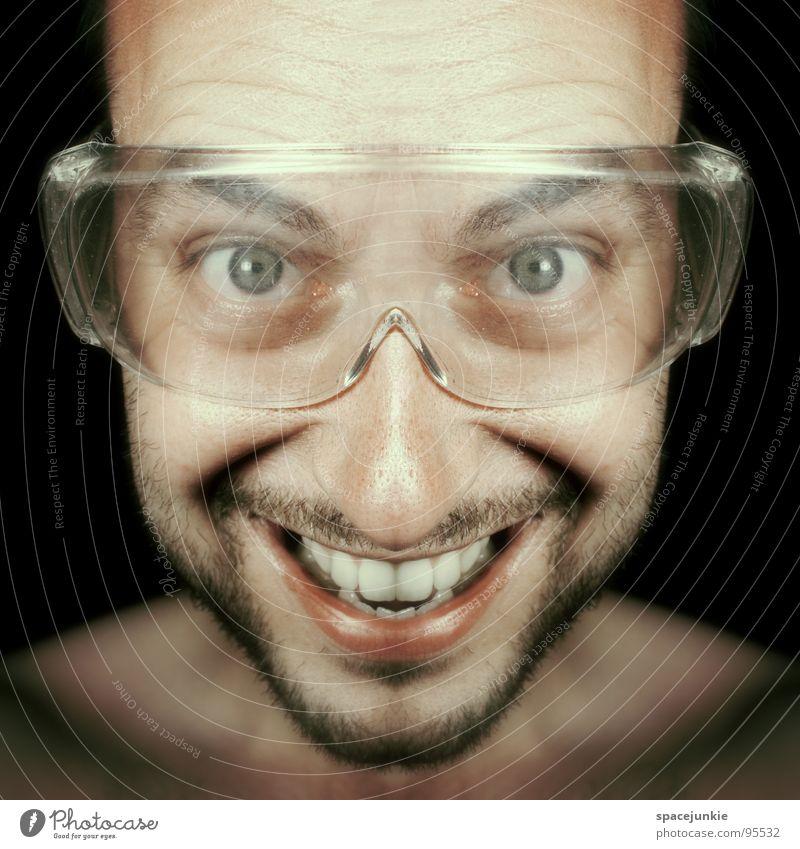 Man Joy Laughter Funny Crazy Eyeglasses Grinning Whimsical Saftey goggles