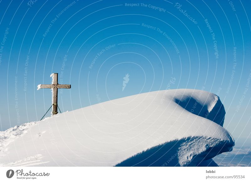 Weaved Peak cross Winter Deserted Snow crystal Loneliness Skis Alpine Mountain Mountaineering Sky snowdrifts Germany