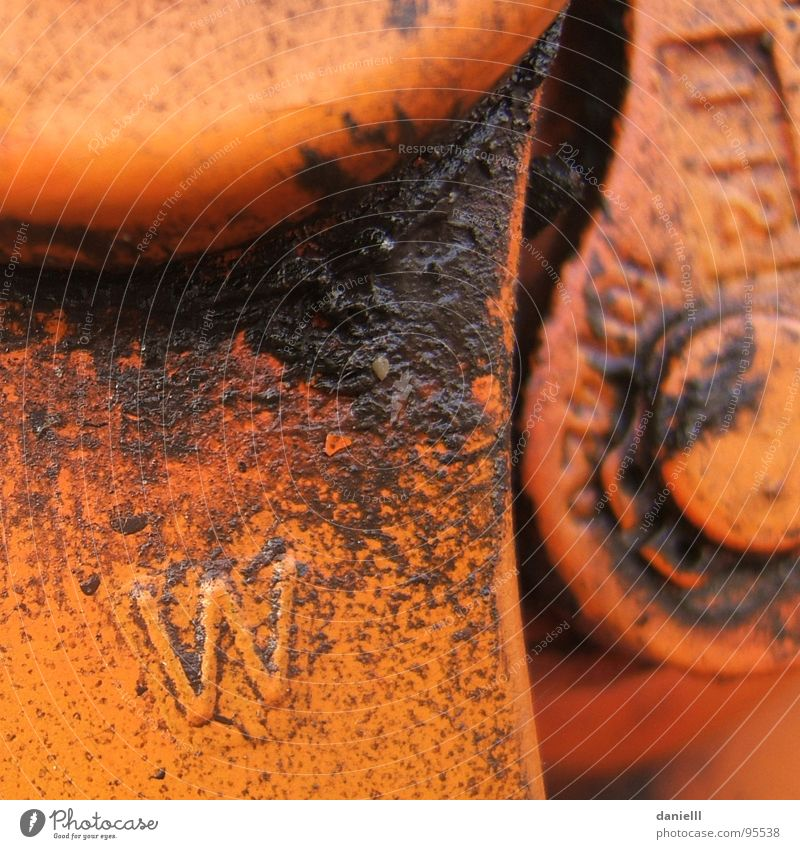 2 Orange Dirty Industry Fat Oil Mechanics Lever Oily