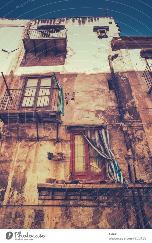Well, old house! Vacation & Travel City trip Culture Town Old town Building Architecture Facade Balcony Window Authentic Dirty Fantastic Broken Gloomy Dry Brown