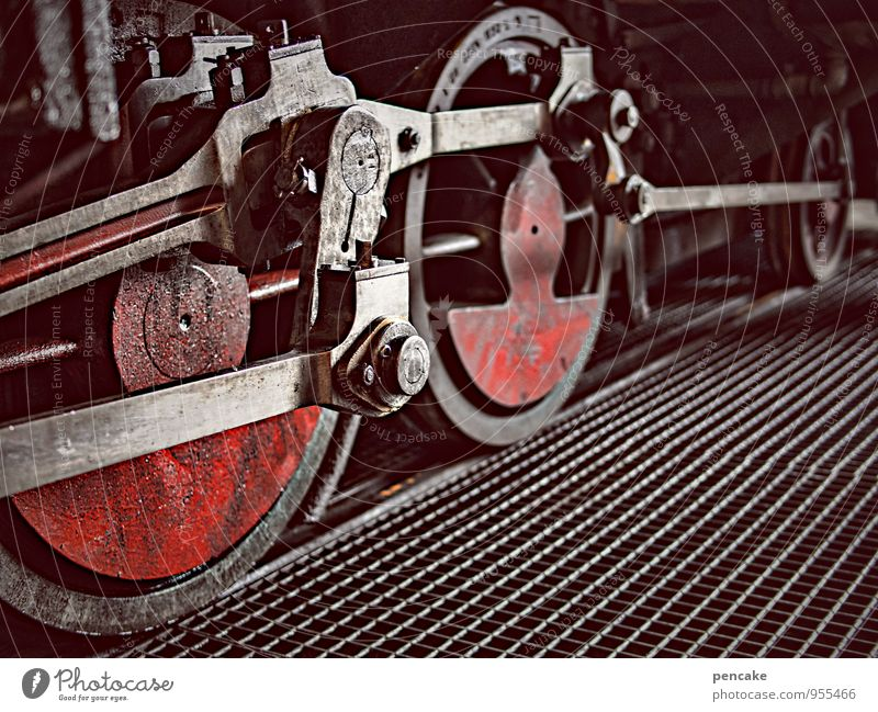 gear train Technology Rail transport Railroad Engines Train station Metal Dirty Retro Power Brave Adventure Nostalgia Wheel Colour photo Subdued colour