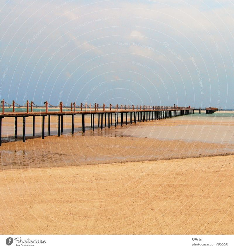 Where is the sea?! No 1 - or: Walking to the ocean... Beach Sky Physics Summer Egypt Sand Grain Sandy beach Footbridge Clouds Lake Ocean Drought Dry Hot