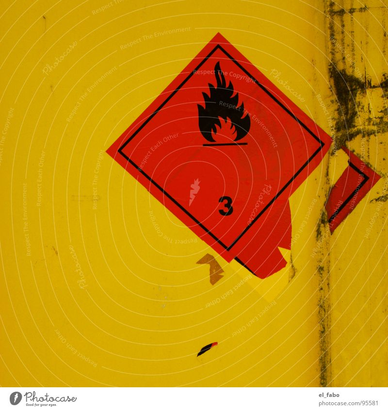 3 Label Yellow Red Scratch mark Broken 2 Dangerous Warning label Warning sign Blaze Container Trashy Threat Signs and labeling Metal lacquer