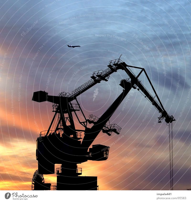 Sky Blue Red Work and employment Airplane Rope Industry Harbour Steel Weight Geometry Crane Dusk Iron Progress Lift