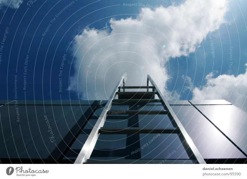 Career ladder ? Clouds Go up Summer Sun Abstract White Cyan Roof Detail Industry Sky Stairs Weather Blue Metal Architecture