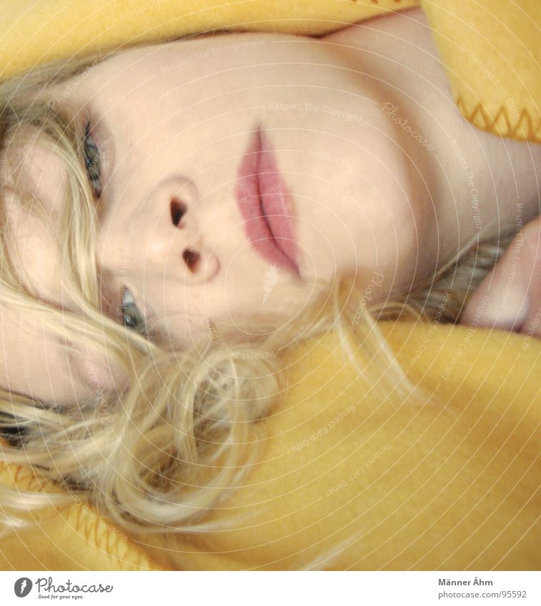 The yellow blanket. Woman Yellow Blonde Trust Bedroom Blanket Face Lie wrap Hair and hairstyles Curl Looking