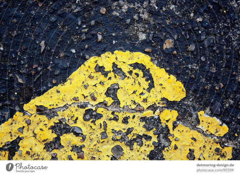 yellow street corner* Asphalt Precuation Concrete Tar Yellow Transport Black Stripe Diagonal Background picture Painted Graphic Style Near Trashy Broken Dirty