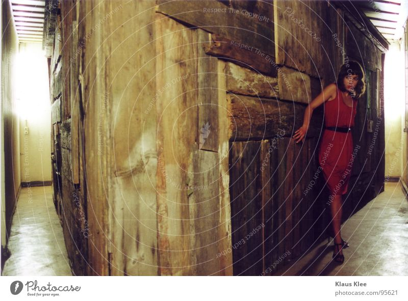 Woman Red House (Residential Structure) Wood Footwear Room Fear Dangerous Floor covering Dress Panic