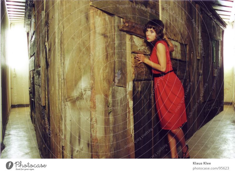 Woman Red House (Residential Structure) Wood Footwear Room Fear Floor covering Dress Derelict Panic