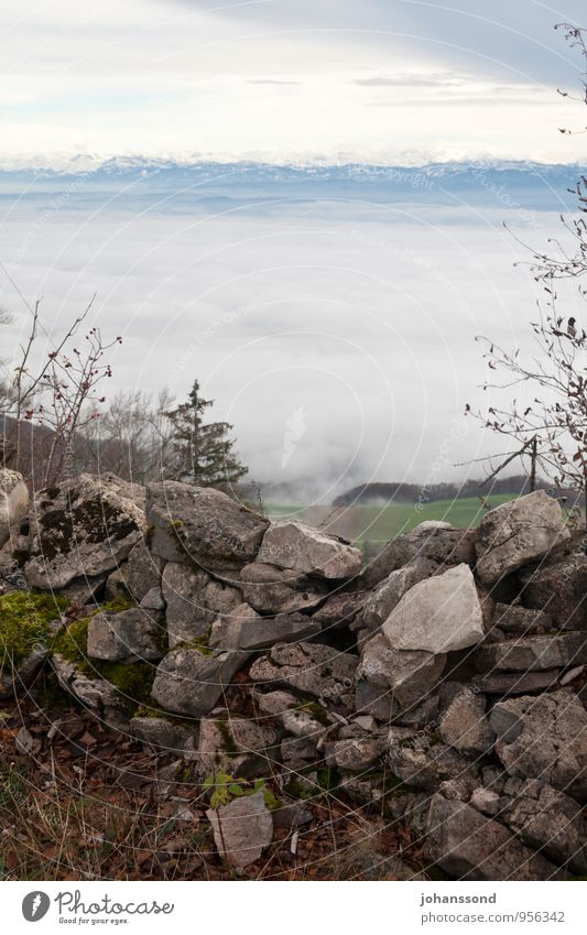 Far view 2 Nature Landscape Clouds Autumn Fog Field Forest Alps Mountain Snowcapped peak Wall (barrier) Stone wall Barrier Hiking Sharp-edged Far-off places