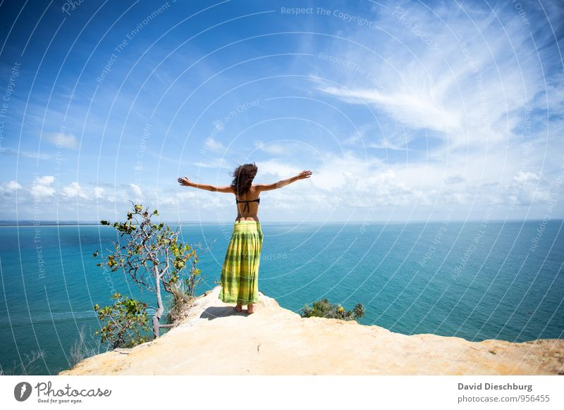 Human being Sky Vacation & Travel Youth (Young adults) Blue Green White Water Summer Young woman Relaxation Ocean Landscape Clouds 18 - 30 years Far-off places