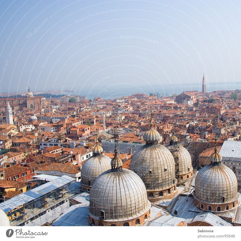 Sky Far-off places Beautiful weather Skyline Cloudless sky Blue sky Venice Cathedral Domed roof Italy House of worship Overview St. Marks Square Clear sky