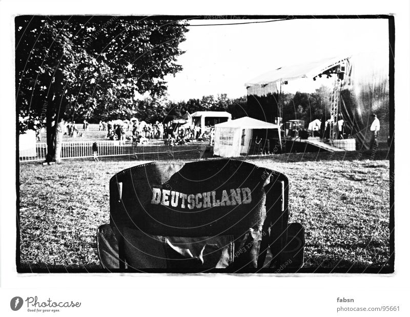 YOU ARE... Summer Camping Stage Backstage Meadow Tent Joy Black & white photo Germany Chair Music festival