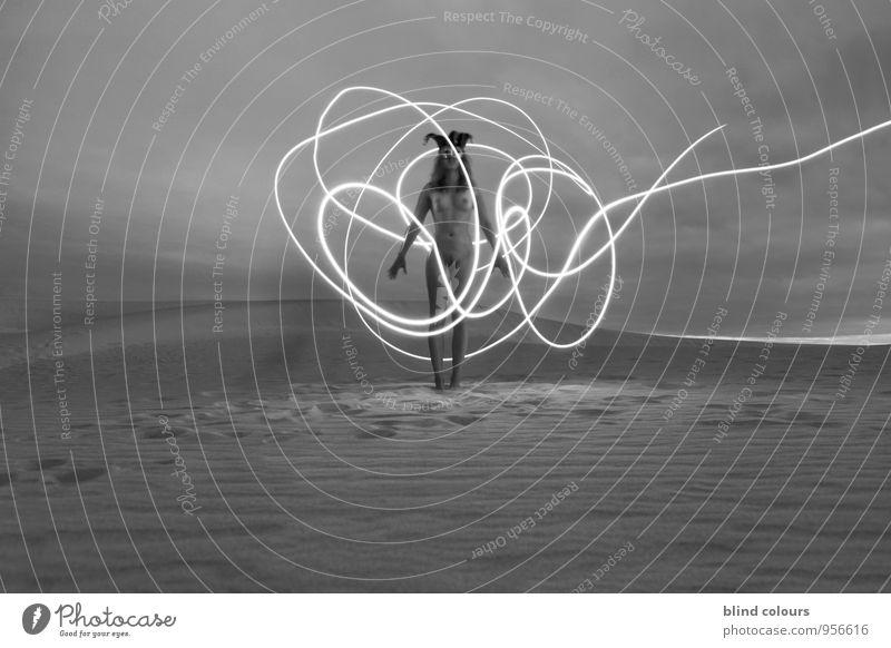 déroute II Art Work of art Esthetic Woman Woman's body Long exposure Nude photography Desert Sand Sandy beach Sandstorm Naked Female nude Naked flesh Chest