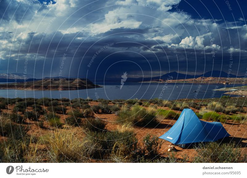 million dollar view Horizon Tent Camping Loneliness Empty Background picture Vacation & Travel Clouds Wanderlust Lake Uninhabited Americas Leisure and hobbies