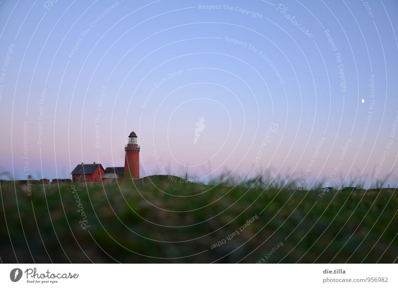 twilight lighthouse Landscape Plant Sand Air Water Sky Cloudless sky Night sky Moon Grass Hill Coast Beach North Sea Lighthouse Bovbjerg Denmark Europe Village