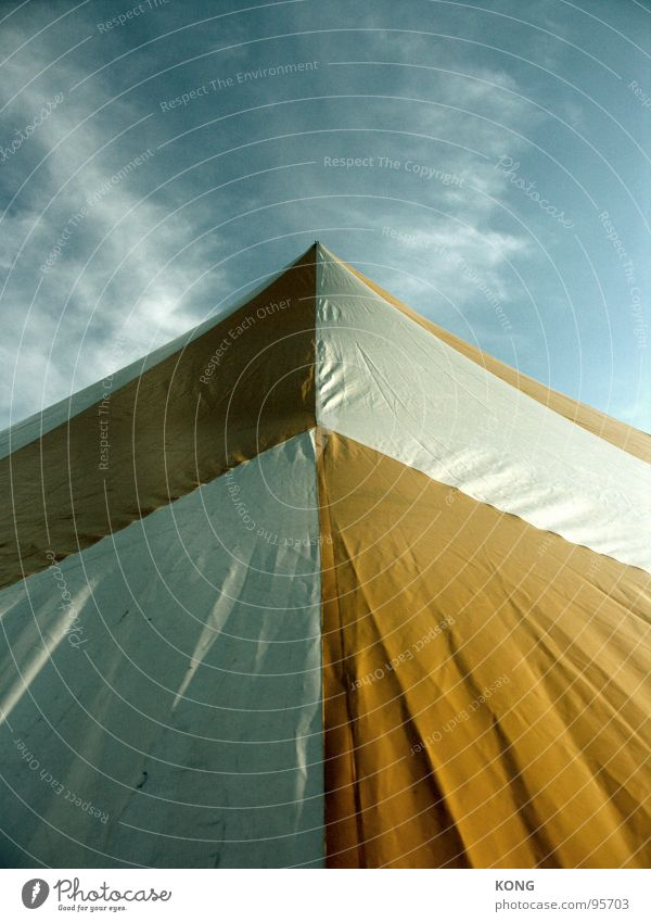 up Tent Covers (Construction) Yellow White Clouds Sky Light and shadow Detail Upward Blue Wrinkles Arrow towards the sun Shadow