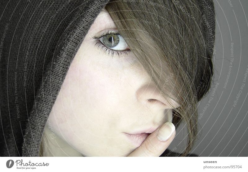 hey..........sssssssssscht Hair and hairstyles Skin Calm Woman Adults Eyes Mouth Fingers 1 Human being Think Looking Wait Dark Beautiful Patient