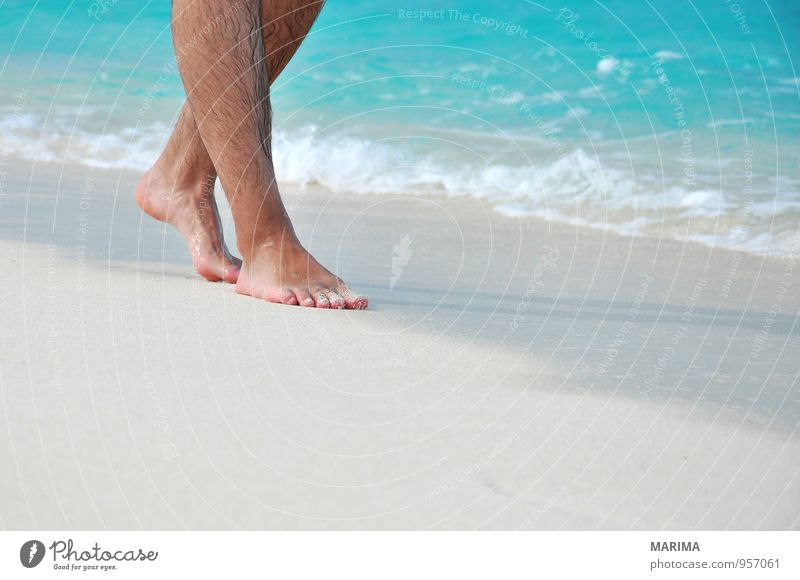 man takes a beach walk Exotic Relaxation Calm Vacation & Travel Beach Ocean Human being Nature Sand Water Footprint Going Blue Turquoise White Asia Barefoot