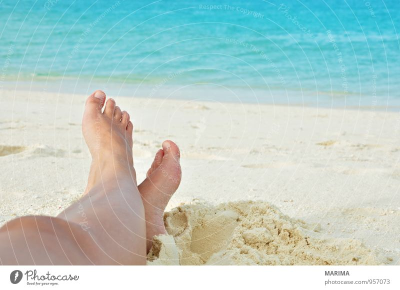 woman legs in the sand Exotic Relaxation Calm Vacation & Travel Beach Ocean Human being Woman Adults Nature Sand Water Blue Turquoise White Asia rest