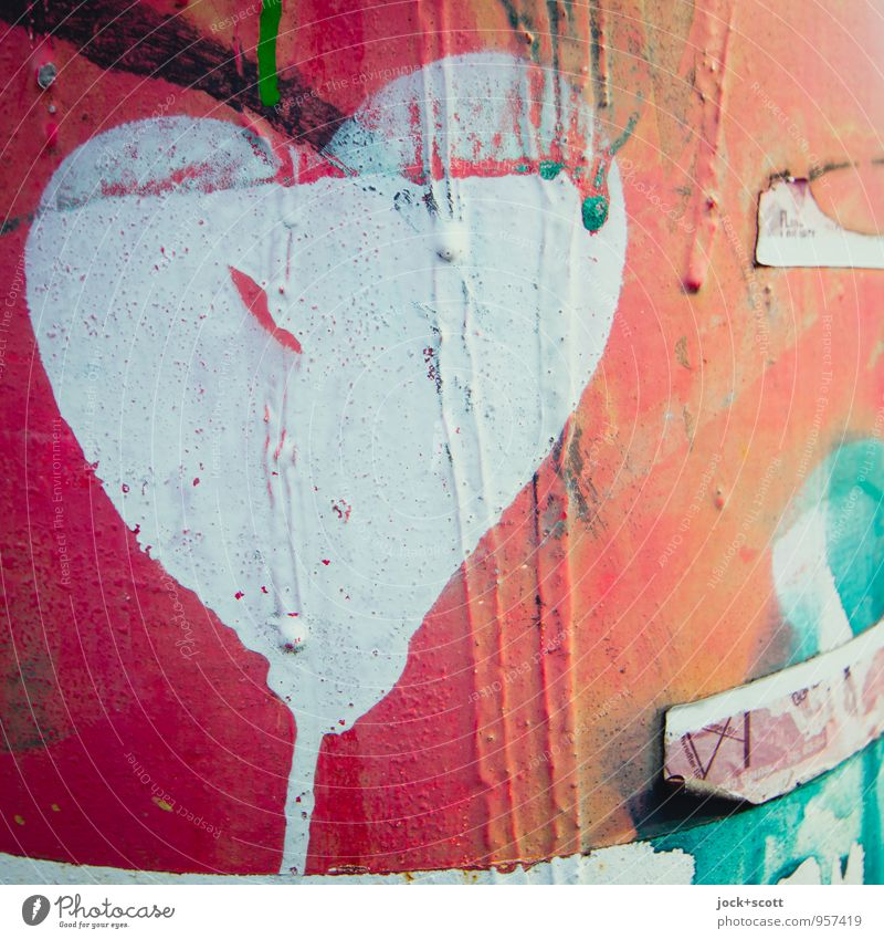 Heart (painted heart on metal) Subculture Street art Metal Graffiti Dirty Uniqueness Near Red Passion Love Infatuation Creativity Transience Layer of paint