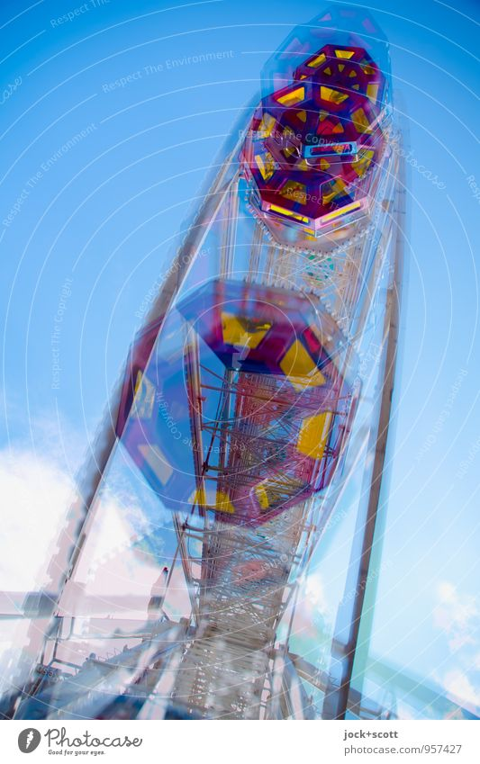 big wheel Joy Trip Fairs & Carnivals Clouds Summer Ferris wheel Profile Rotate Fantastic Large Original Retro Happiness Power Dependability Experience Speed