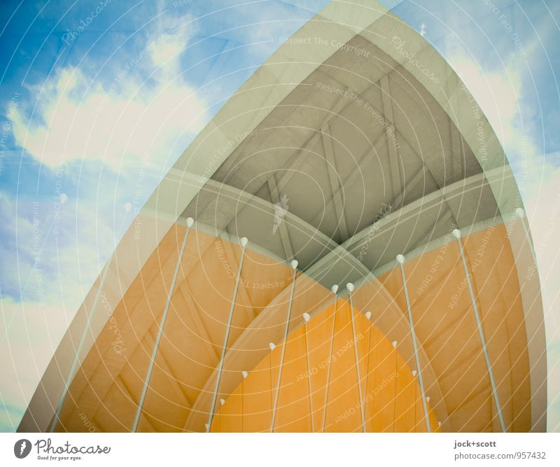 Culture mix Objectivity Sky Clouds Berlin zoo Congress building Tourist Attraction Retro Innovative Surrealism Irritation Double exposure The fifties Abstract