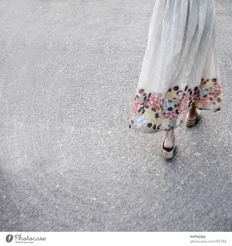 Woman Beautiful Summer Flower Feminine Footwear Going Walking Floor covering Clothing Bottom Dress Asphalt Hot Wrinkles Easy