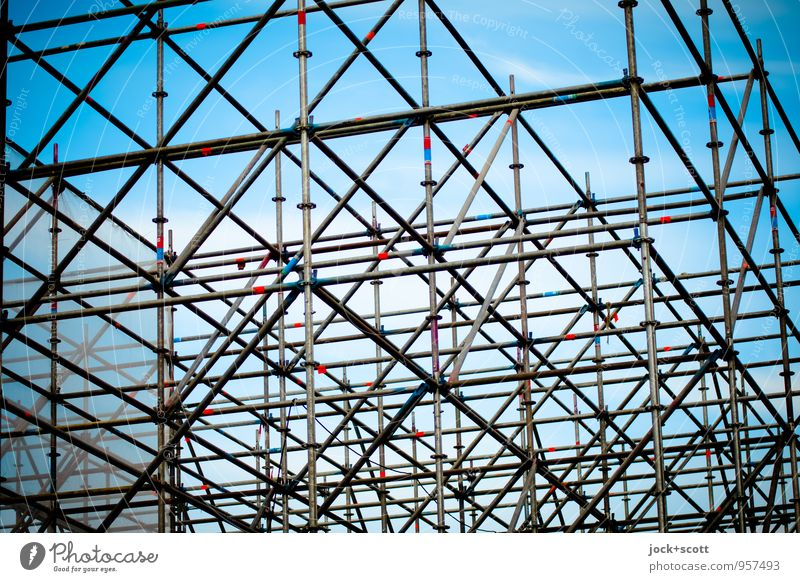 well equipped with metal struts Construction site Sky Scaffold Steel Line hatch Tall Many Disciplined Complex Network Planning Precision Installations