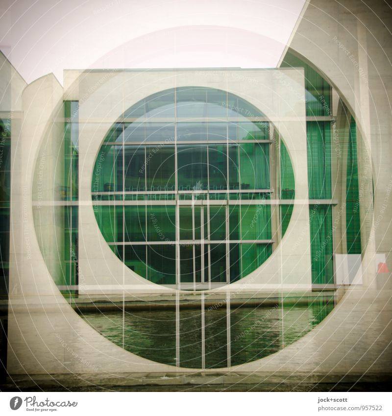 Green Window Architecture Building Gray Design Modern Esthetic Large Circle Concrete Might Square Tourist Attraction Surrealism Double exposure