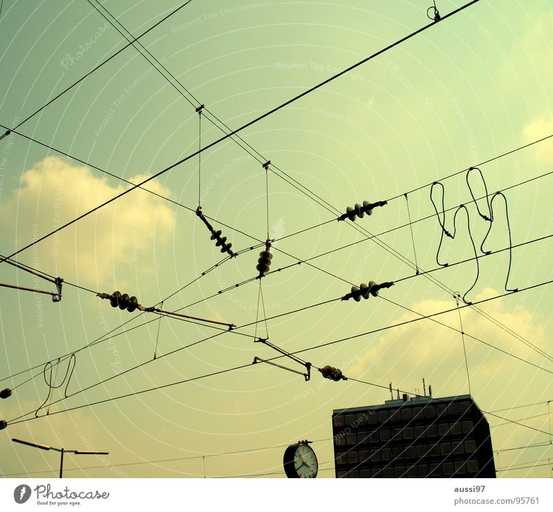 Sky Clock Network Cable Technology Railroad tracks Connection Train station Muddled Transmission lines Interlaced Platform Overhead line Blog