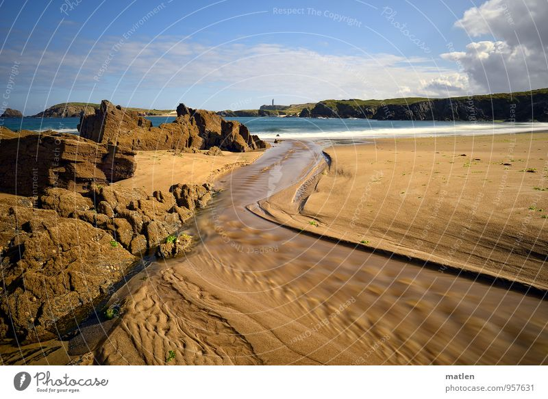 panta rhei Nature Landscape Sand Water Sky Clouds Summer Weather Beautiful weather Rock Waves Coast Beach Bay Blue Brown White Flow Mouth of a river