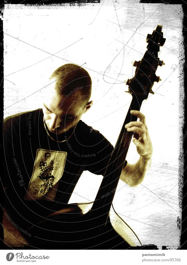 spaceman Jazz Emotions Concentrate Concert Music Double bass Silhouette musician Sepia