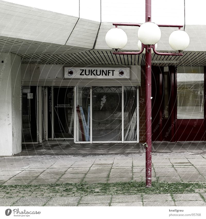 * Future * Hannover Lamp Lantern Green White Red Café Bar Gloomy Planning Development Decline Dismantling Pedestrian precinct Stone slab Fortune-telling Fate