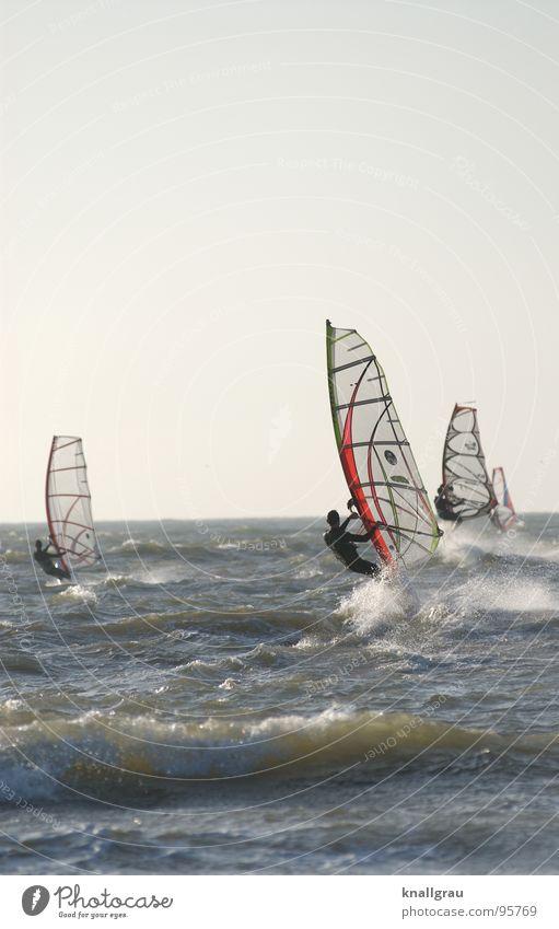 Hard in the wind Surfer Ocean Netherlands Scheveningen Den Haag Waves Surfing Jump Speed Sporting event Wetsuit Desire Effort Limit Horizon Clouds