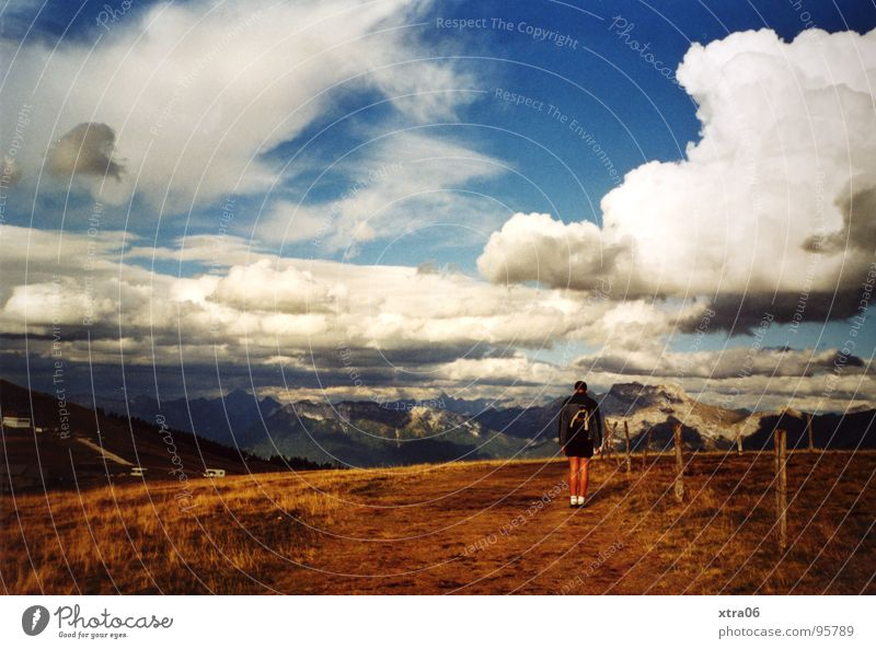 Human being Man Sky Clouds Loneliness Mountain Small Vantage point France Annecy