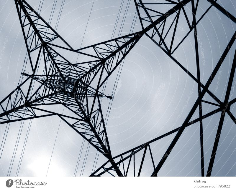 Sky Gray Line Power Small Industry Energy industry Electricity Dangerous Gloomy River Cable Threat Monument Landmark Electricity pylon