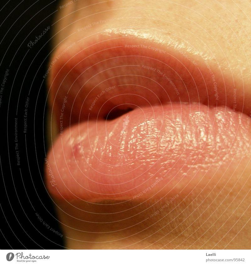 Woman Calm Bright Mouth Pink Skin Lips Dark background