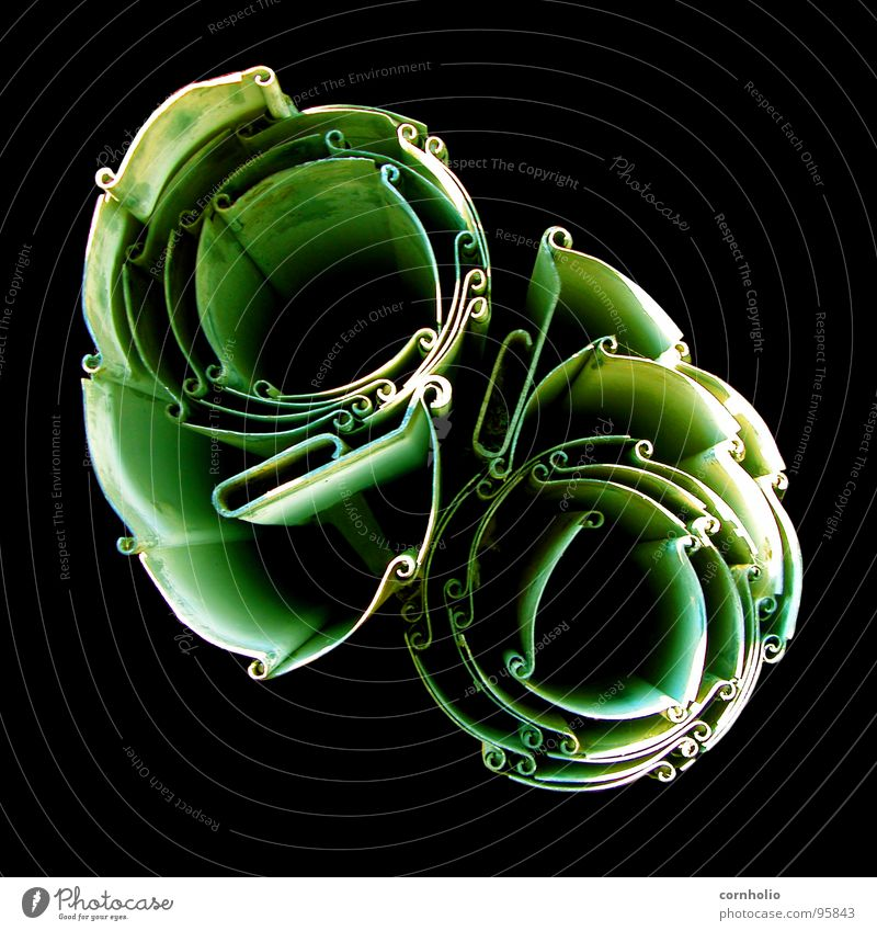 Flower Green Colour Playing Metal Steel Obscure Illustration Rotate Curved