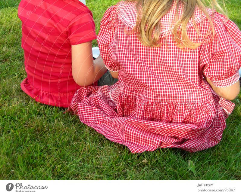 typical girl Child Girl 2 Pink Red Dress Meadow Together Think Summer Toddler Sit