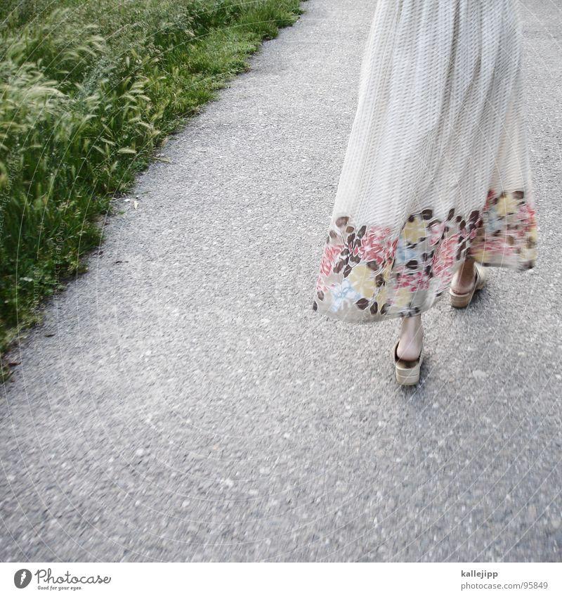 Woman Green Beautiful Summer Flower Feminine Grass Footwear Going Field Walking Floor covering Clothing Bottom Dress Lawn