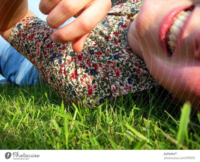It's me! Flower meadow Woman Lust Multicoloured Joy Laughter Colour Teeth