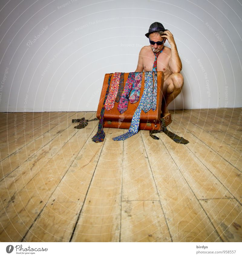 Naked man with sunglasses, hat and an old suitcase full of ties in a thoughtful pose Style Man Adults Body 1 Human being 30 - 45 years 45 - 60 years Tie