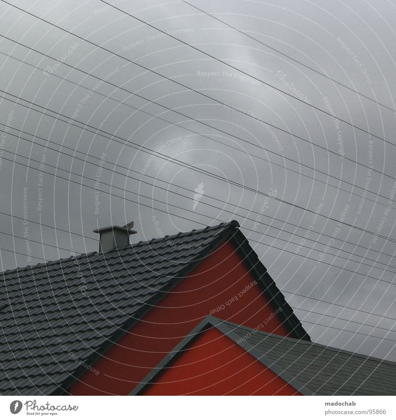 Sky Red House (Residential Structure) Clouds Building Line Architecture Weather Gloomy Cable Roof Simple Square Boredom Chimney