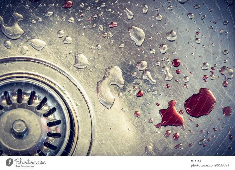 Little accident? Sink Drainage Kitchen sink Steel Water Drop Cleaning Aggression Threat Dark Creepy Cold Gloomy Crazy Red Emotions Dream Fear Horror Bizarre