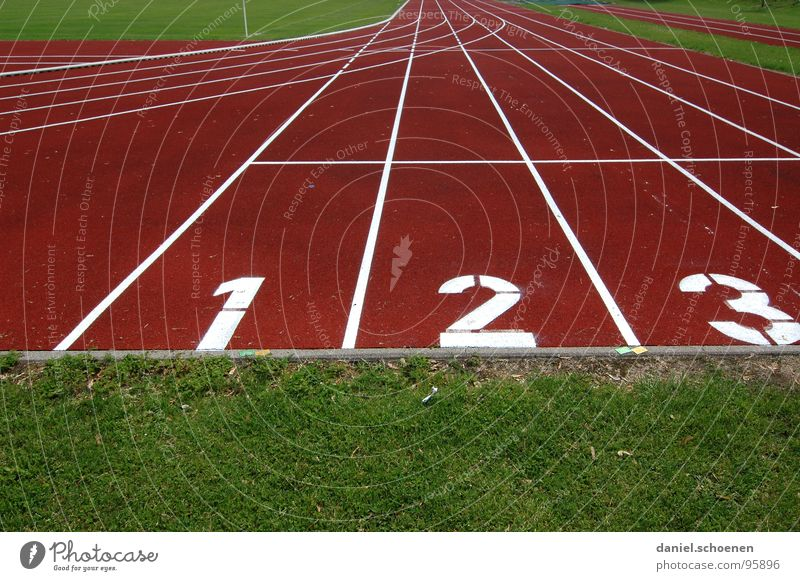 1-2-3 Racecourse Sporting grounds Track and Field Red Green Background picture Hundred-metre sprint Sports Playing Sporting event Competition Beginning Target