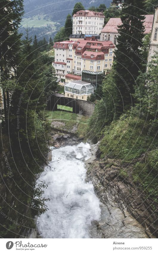 built on water Water Rock Alps Mountain Canyon Waterfall Bad Gastein Gastein Valley Austria House (Residential Structure) Manmade structures Architecture Hotel