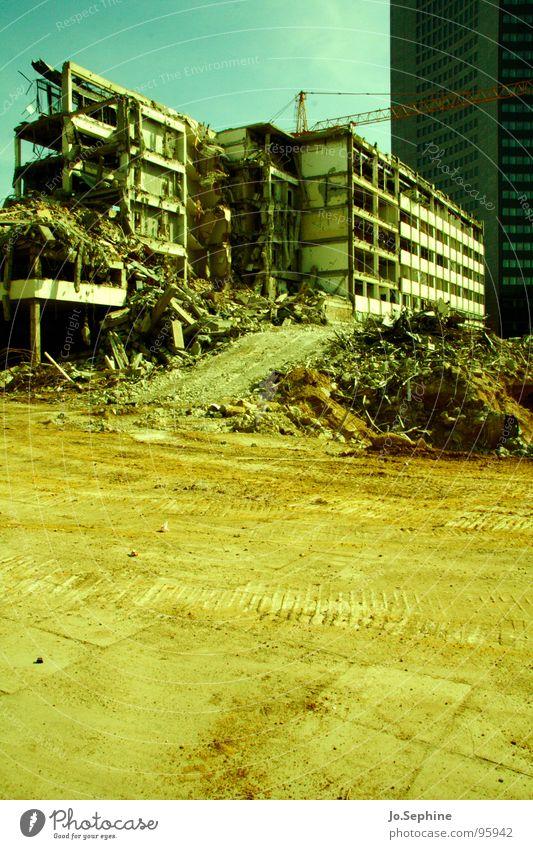 Architecture Sand Dirty Concrete Construction site Derelict Leipzig Ruin Destruction Crane Prefab construction Dust Dismantling Redevelop Crash Gravel