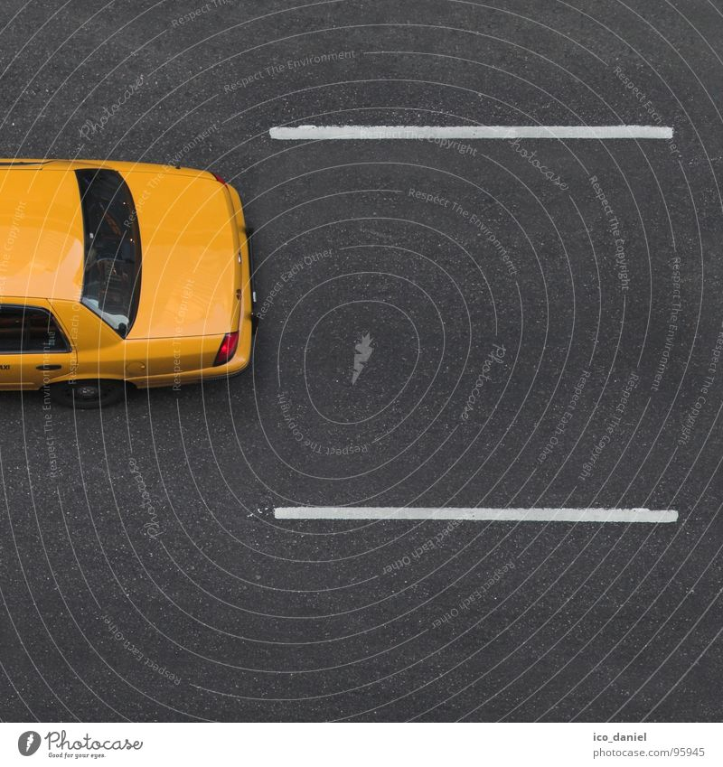 Yellow Cab II - New York Means of transport Street Car Taxi Free Speed New York City Asphalt Manhattan Broadway Lane markings Americas Parallel USA Colour photo